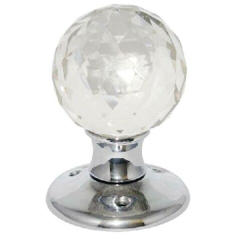 Glass Mortice Ball Door Knob Chrome Plated Backplate