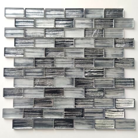 Glass mosaic wall tiles for kitchen or bathroo Haines Gris