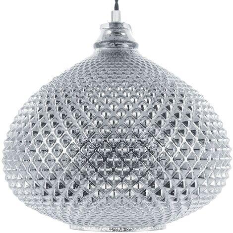 Glass Pendant Lamp Silver MADON