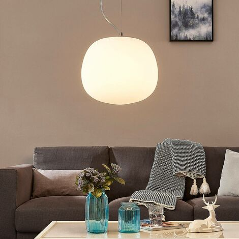 Glass pendant light Ginevra, round, white 38 cm