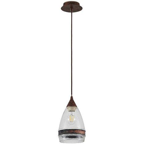 Glass pendant light Millina, rusty brown, 1-bulb
