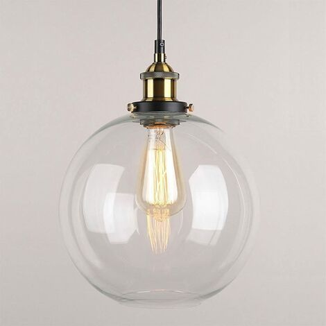"main image of ""Glass Pendant Light Vintage Finish Industrial Metal Clear Glass Round Ball Shade Loft Pendant Lamp Retro Lamp Vintage Ceiling Light (Transparent, 20CM)"""