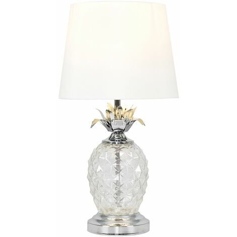 Glass Pineapple Touch Table Lamp - White - Silver