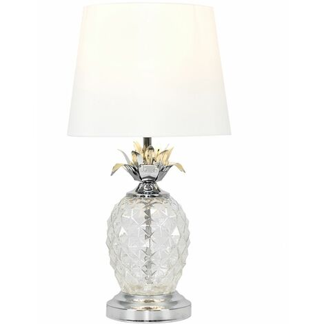 Glass Pineapple Touch Table Lamp with Shade + LED Dimmable Candle Bulb - White - Silver