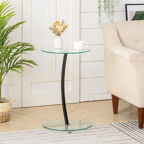 Glass Round Coffee Table Side Table Living Room Furniture