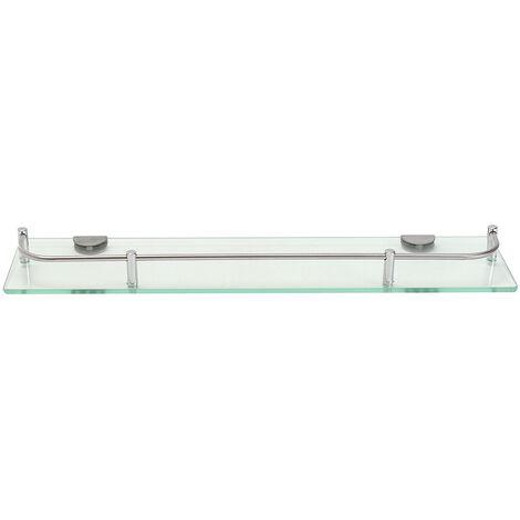 Glass Shelf Corner Rectangle Rack Bathroom Shower Towel Rail Organizer clear 48.5 cm