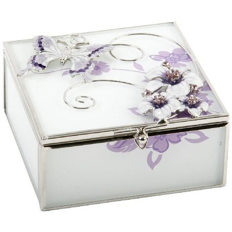 Glass Square Trinket Box Purple Butterfly/Flwrs/Crys