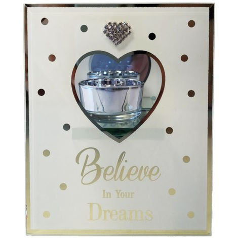 Glass Tealight Holder with Diamante Heart