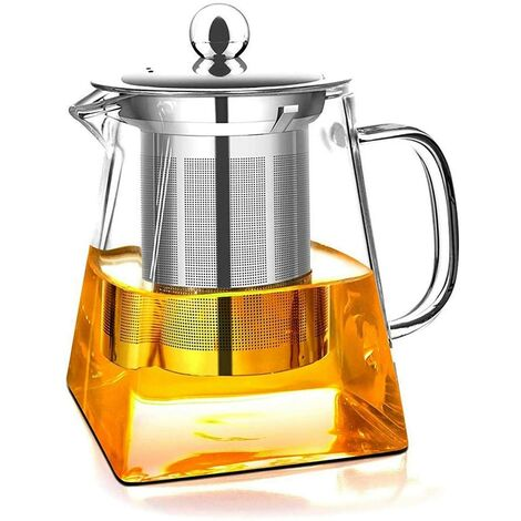 Glass Teapot with Removable Infuser, High Borosilicate Glass Loose Tea Kettle, 304 Stainless Steel Strainer and Lid - Stove Safe (750ML)