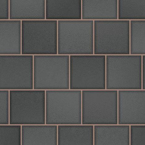 Glass Tile Effect Wallpaper Charcoal Rose Gold Textured Vinyl Kitchen YöL