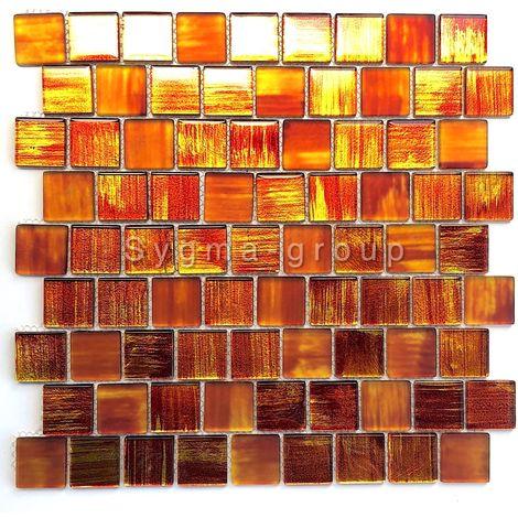 glass tile mosaic bathroom and kitchen Drio orange