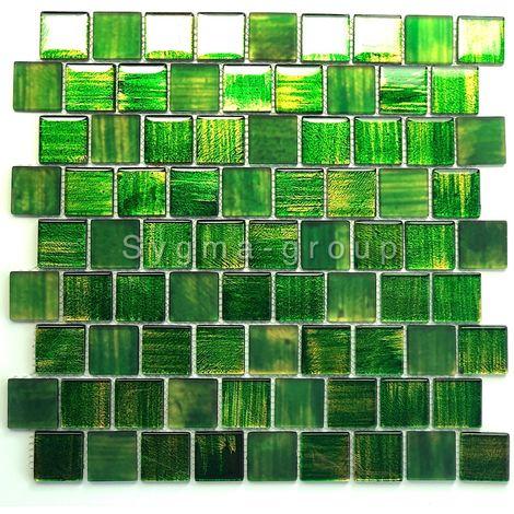glass tile mosaic bathroom and kitchen Drio vert