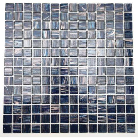 Glass tile mosaic bathroom shower and kitchen Plaza Bleu Cobalt