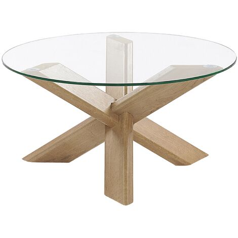Glass Top Coffee Table Light Wood VALLEY