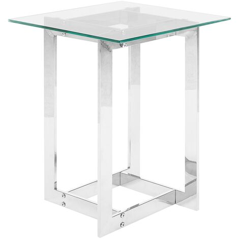 Glass Top Side Table Silver CRYSTAL