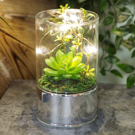Glass Tube Terrarium - Artificial Succulents and LEDs 15cm