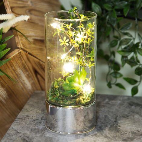 Glass Tube Terrarium - Artificial Succulents and LEDs 20cm