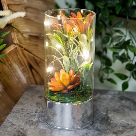 Glass Tube Terrarium with Artificial Succulents & LEDs 20cm
