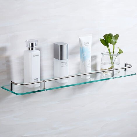 Glass Wall Mounted Cosmetic Storage Rack Bathroom Caddy Kitchen Floating Shelves