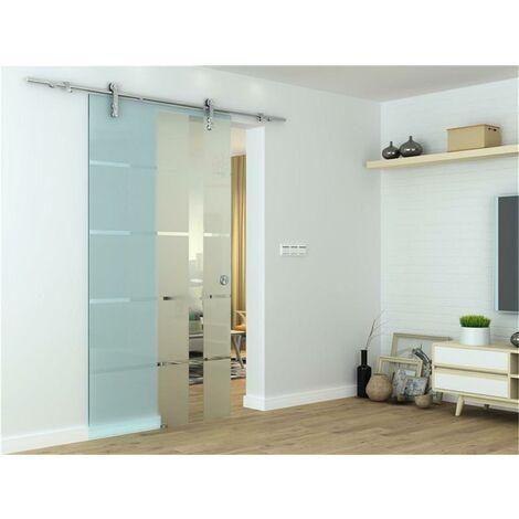 Glasschiebetür Schiebetür 2050x900x8 mm Glastür Zimmertür - Satiniert
