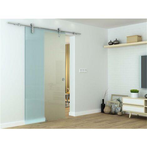 Glasschiebetür Schiebetür 2050x900x8 mm Tür Glastür Zimmertür mit Griffmuschel, einseitig satiniert, ESG