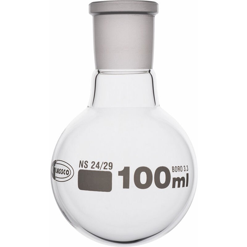 Image of Glassco Jointed Round Bottom Glass Flask with Short Neck 100ml, 24/29 Pack of 10
