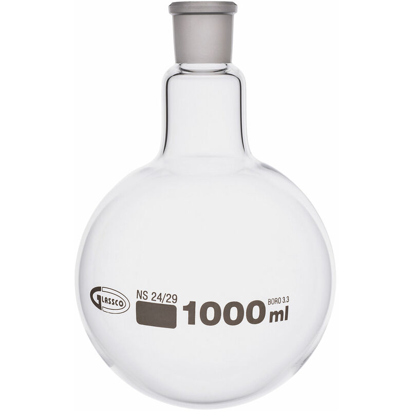 Image of Glassco Jointed Round Bottom Glass Flask with Short Neck 1L, 24/29 Pack of 10