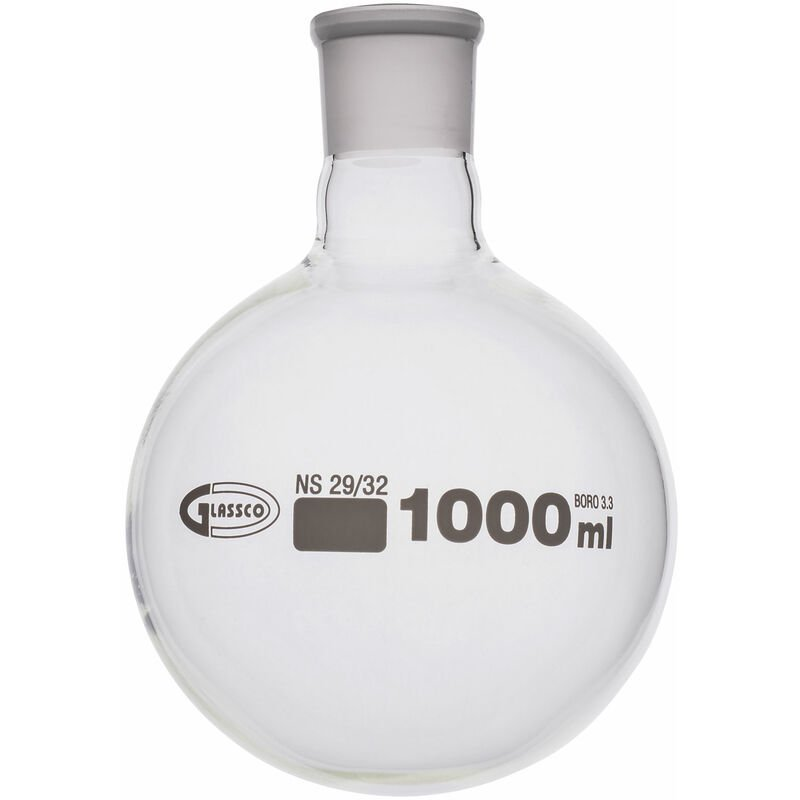 Image of Glassco Jointed Round Bottom Glass Flask with Short Neck 1L, 34/35 Pack of 10
