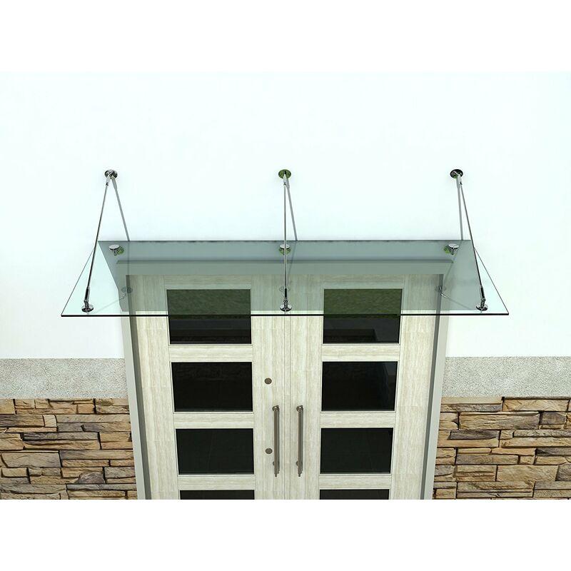 Buylando.shop - Auvent avec 3 profils de fixation double vitrage 250 x 90 cm / 13, 1 mm