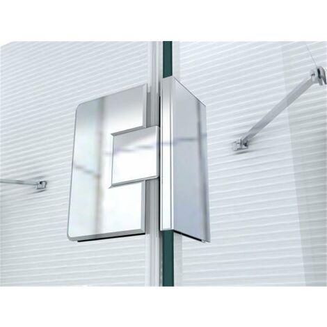 Glaszentrum Hagen - Ferrure de porte de douche - Charnière pour porte de douche - Verre sur verre, 180 °, chrome