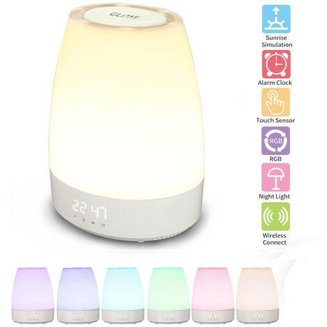 GLIME USB LED réveil lampe de table veilleuse intégrée lecteur Bluetooth