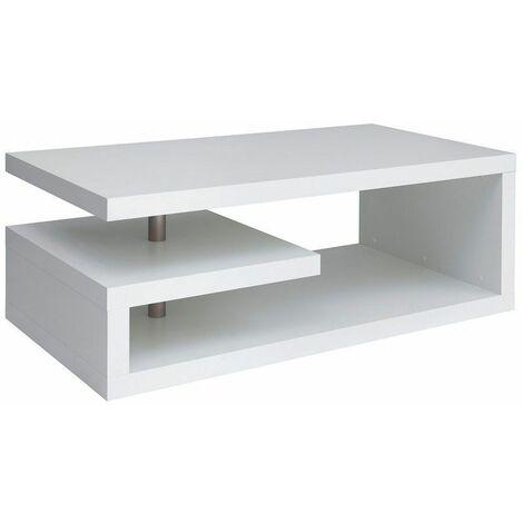 GLIMPI - Table basse salon séjour - Style moderne - 120x60x45 cm - Design géométrique - Étagère compacte - Blanc