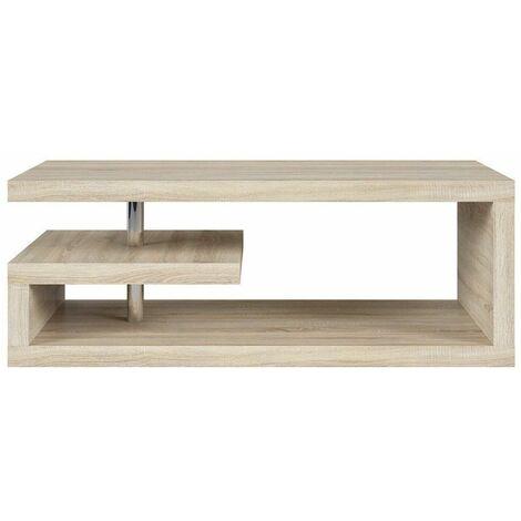 GLIMPI - Table basse salon séjour - Style moderne - 120x60x45 cm - Design géométrique - Étagère compacte - Sonoma
