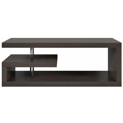 GLIMPI - Table basse salon séjour - Style moderne - 120x60x45 cm - Design géométrique - Étagère compacte - Wengé