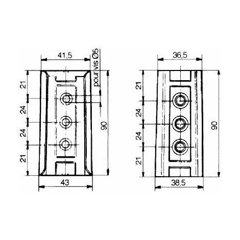 Glissière de dosseret de lit - Hauteur : 90 mm - Décor : Brut - SERFA