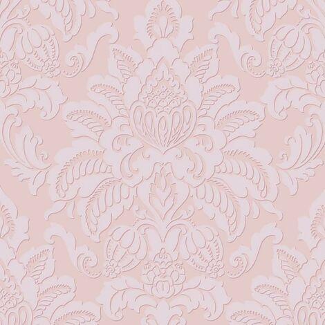 Glistening Blush Wallpaper Arthouse Damask Textured Glitter Pink Embossed