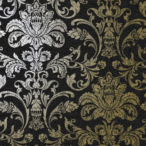 Glistening Damask Wallpaper Charcoal YöL Metallic