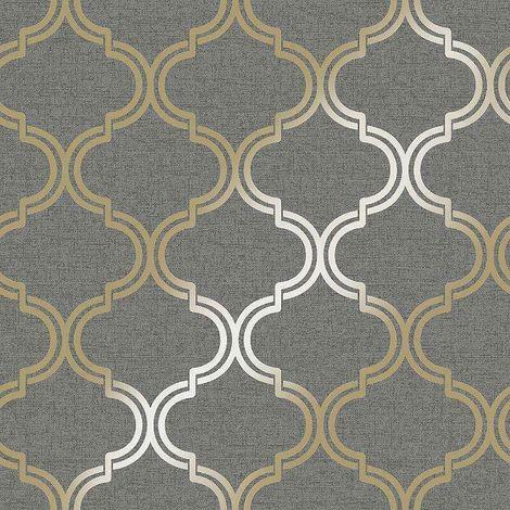 Glistening Geometric Wallpaper Black Gold Metallic Trellis YöL