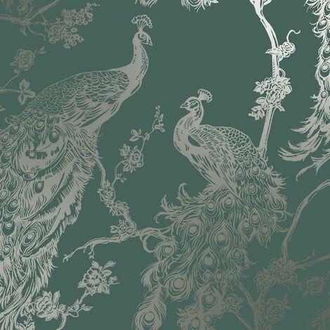 Glistening Peacock Emerald Green Wallpaper Metallic Bronze Holden Decor Bird Trees Feather