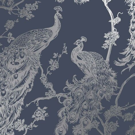 Glistening Peacock Navy Blue Wallpaper Metallic Silver Holden Decor Bird Trees Feather