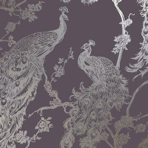 Glistening Peacock Purple Wallpaper Metallic Copper Holden Decor Bird Trees Feather