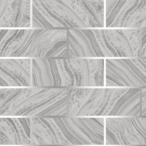 Glitter Brick Effect Wallpaper Rasch Grey Silver Textured Metallic Vinyl