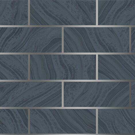 Glitter Brick Effect Wallpaper Rasch Navy Silver Textured Metallic Vinyl