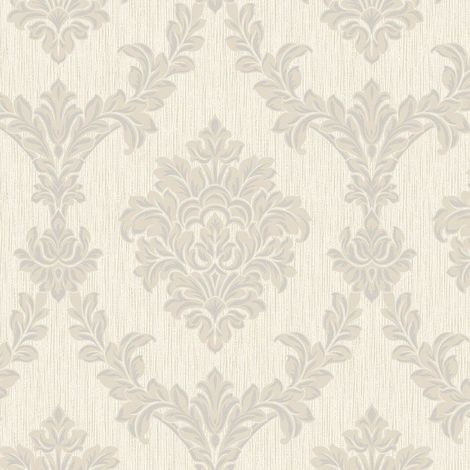 Glitter Damask Wallpaper Taupe Silver Vinyl Textured Metallic Fine Decor