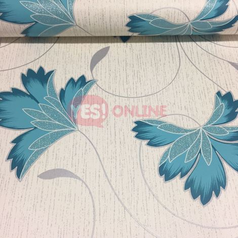 Glitter Effect Flower Floral Wallpaper Vinyl Metallic Silver Teal White Crown