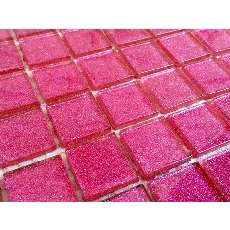 Glitter Pink Glass Feature Walls Borders Splashbacks Mosaic Tiles MT0018