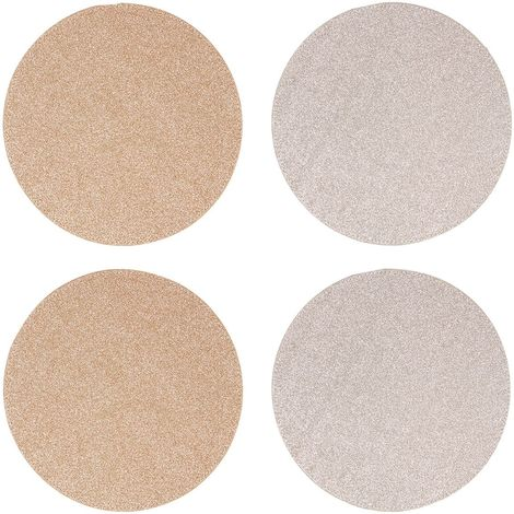 Glitter Placemats, Set of 4 / Round, Reversible / Gold & Silver