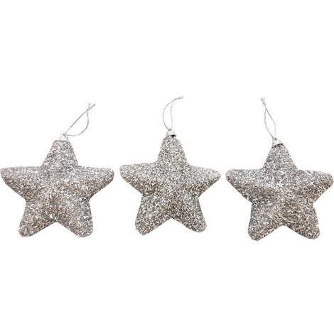 Glitter Star Decoration Pack of 3