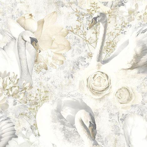 Glitter Swans Wallpaper Beige White Silver Damask Floral Textured Cygnet Holden