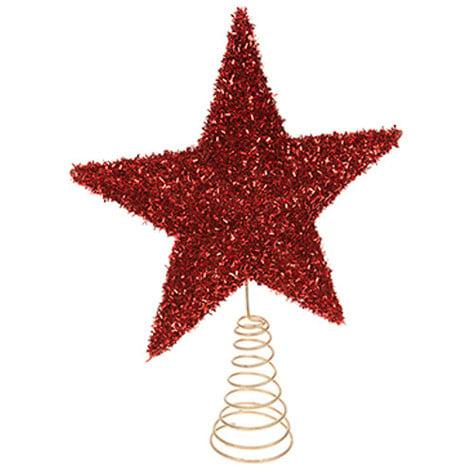 Glitter Tree Top Star - Red